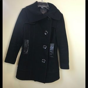Mackage Wool Leather Fitted Car Coat Collar Pockets Wool Pea Coat Jacket